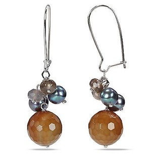 Amour Amour Sterling Silver Multi-gemstone And Pearl Earrings 6-7.5 Mm