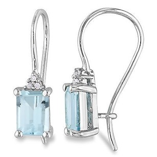 Amour Amour Sterling Silver Sky Blue Topaz And Diamond Earrings