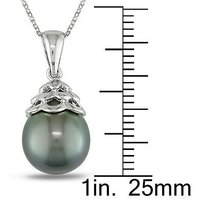 Amour Amour Sterling Silver Tahitian Black Pearl Pendant Necklace 9-10 Mm 18