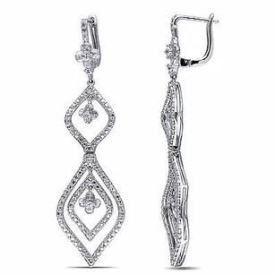 Amour Amour Sterling Silver White Sapphire And Diamond Earrings
