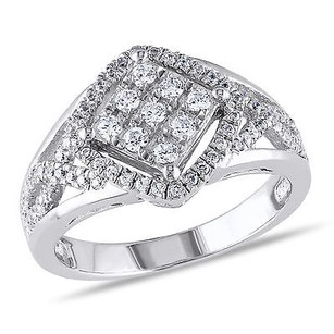 Amour Amour White Gold Over Silver Cubic Zirconia Criss-cross Cocktail Ring