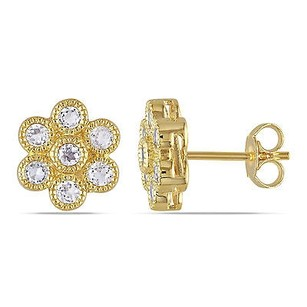 Amour Amour Yellow Sterling Silver 1 Ct Tgw White Topaz Flower Stud Earrings