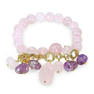 Amour Brass 200 Ct Rose Quartz Beads Multi Shape Rose Quartz Ameth Stretch Bracelet