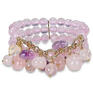 Amour Brass 300ct Tgw Rose Quartz Beads Multi Shape Amethyst Row Stretch Bracelet