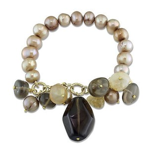 Amour Goldtone 9-10 Mm Brown Fw Pearl Multi-colored Quartz Beaded Stretch 7 Bracelet