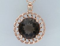 Amour Pink Silver Ct Tgw Smokey Quartz And Diamond Accent Pendant Necklace 18