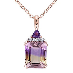 Amour Rose Pink Sterling Silver Ametrine Amethyst And Diamond Pendant Necklace 18