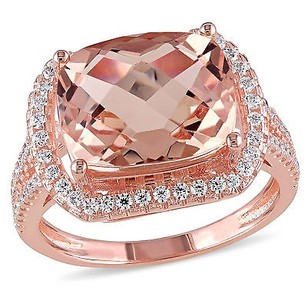 Amour Rose Pink Sterling Silver Morganite And Cubic Zirconia Cocktail Ring