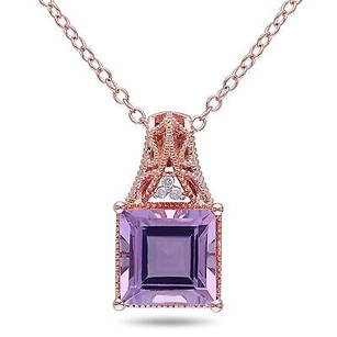 Amour Rose Pink Sterling Silver Rose De France And Diamond Accent Pendant Necklace 18