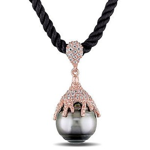 Amour Silver 13-14 Mm Tahitian Pearl Cubic Zirconia Pendant Necklace 24 Silk Cord