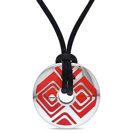 Amour Stainless Steel And Red Epoxy Fashion Pendant Necklace With 20 Silk Rope Chain