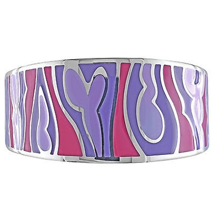 Amour Stainless Steel Colored Epoxy Light Dark Purple And Fushcia Bangle Bracelet 8