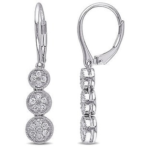 Amour Sterling Sildrop Ver 14 Ct Tdw Diamond Dangle Leverback Earrings H-i I2-i3