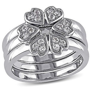 Amour Sterling Silver 12 Carat Tgw White Topaz Multi-heart Stackable Ring Set