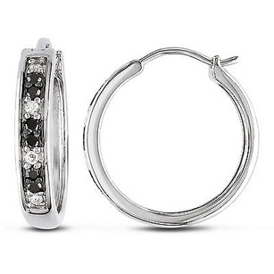Amour Sterling Silver 13 Ct Tdw Black And White Diamond Hoop Earrings I-j I2-i3