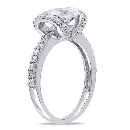 Amour Sterling Silver 18 Ct Tgw White Cubic Zirconia Engagement Ring