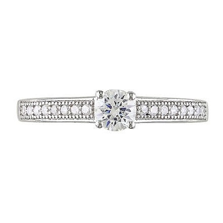 Amour Sterling Silver 5mm 1.25mm Round White Cubic Zirconia Ring