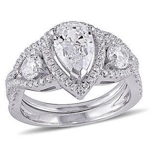 Amour Sterling Silver 78 Ct Tgw Cubic Zirconia Cz Three-stone Bridal Ring Set