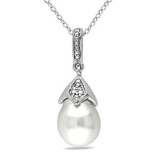 Amour Sterling Silver 9-10 Mm South Sea White Diamond Pendant Necklace H-i I2-i3 18