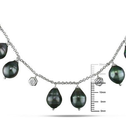 Amour Sterling Silver 9-9.5 Mm Cubic Zirconia And Tahitian Black Pearl Necklace 16