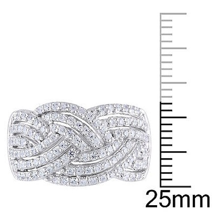 Amour Sterling Silver Braided Crossover Ring With Cz 1 110 Ct Covered In White Gold