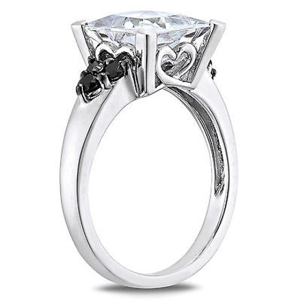 Amour Sterling Silver Clear And Black Cubic Zirconia Engagement-style Cocktail Ring