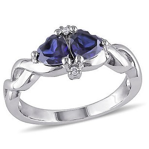 Amour Sterling Silver Created Blue Sapphire And Diamond Accent Heart Ring