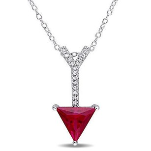 Amour Sterling Silver Created Ruby And Diamond Accent Arrow Pendant Necklace 18