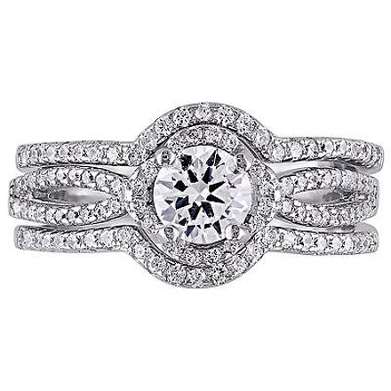 Amour Sterling Silver Cubic Zirconia 3-piece Engagement Pave Vintage Bridal Ring Set