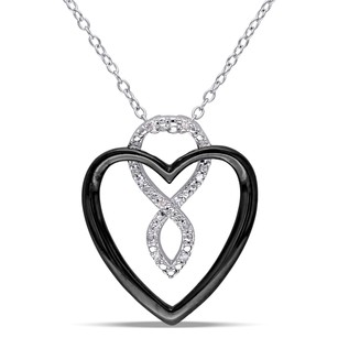 Amour Sterling Silver Diamond Accent Heart Infinity Pendant Necklace 18
