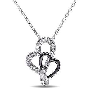 Amour Sterling Silver Diamond Accent Heart Pendant Necklace 18