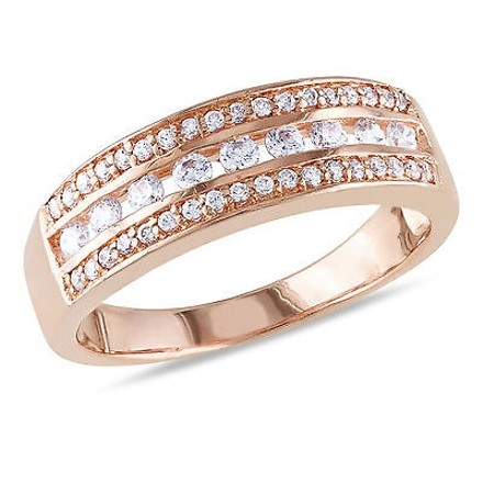 Amour Sterling Silver Fashion Ring With Round Cz 1.33 Ct Tw Rose Gold Plating