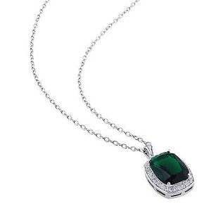 Amour Sterling Silver Green Glass And Cubic Zirconia Fashion Pendant Necklace 18