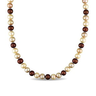 Amour Sterling Silver Multi-colored Cultured Pearl Necklace W Ball Clasp 9-10 Mm 18