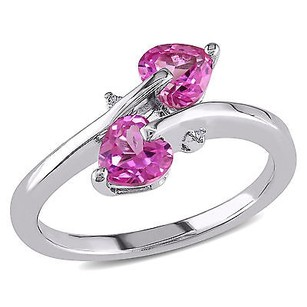 Amour Sterling Silver Pink Sapphire And Diamond Accent Bypass Heart Ring H-i I3