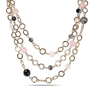 Amour Sterling Silver Rose Quartz And Rutillated Quartz Loop Necklace With Chain