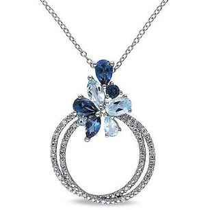 Amour Sterling Silver Sky Blue Topaz 18 Ct Tdw Diamond Pendant Necklace H-i I3 18