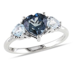 Amour Sterling Silver Topaz And Diamond Heart Ring H-i I2-i3