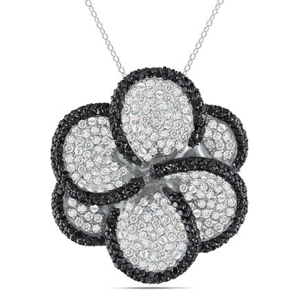 Amour Sterling Silver White Black Cubic Zirconia Pendant Necklace 12 Ct Tgw 18