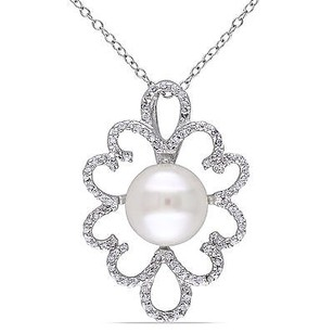 Amour Sterling Silver White Pearl And Cubic Zirconia Pendant Necklace 10-11 Mm 18