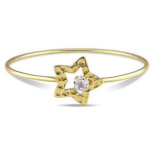 Amour Yellow Sterling Silver 1 Ct White Topaz Star Bangle Bracelet 8