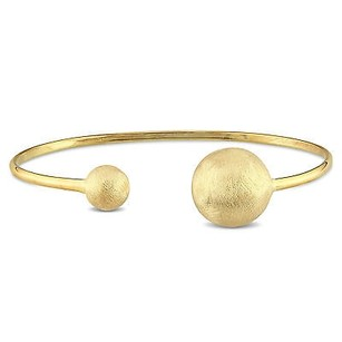 Amour Yellow Sterling Silver Ball Cuff Bangle Bracelet 7