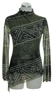 ANAC By Kimi Mesh Knit Long Sleeve Asymmetrical Top Green