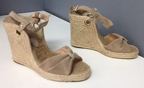 Andre Assous Andre Beige Suede Espadrille Wedge Heel Ankle Buckle Sandals B3540 Brown Platforms