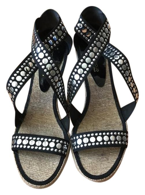 cb7da9b6f4ed Andre Andre Andre Assous Black Espadrille and Silver Studded Sandals Wedges  Size US 10 Regular (M
