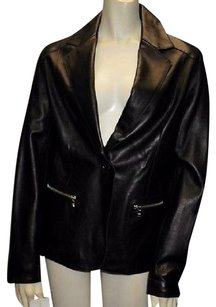 Andrew Marc 100 Leather Notched Collar One Button Hs3046 Black Jacket