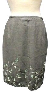 Ann Taylor Embroidered Wool Lined A Line 4135a Skirt dark gray