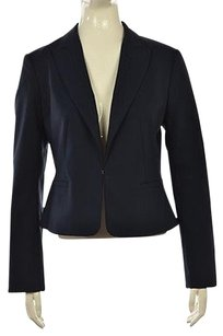Ann Taylor Ann Taylor Womens Navy Solid Blazer Cotton Long Sleeve Career Jacket