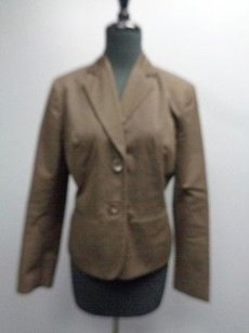 Ann Taylor Ann Taylor Brown Solid Lined Button Cotton Button Cuff Blazer Sma8398