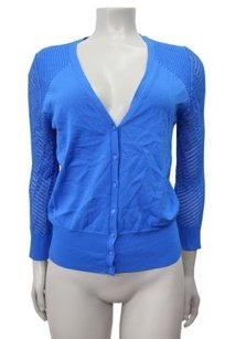 Ann Taylor V Neck Cardigan Open Knit Sleeves Sweater